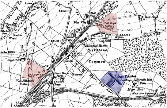 Figure 1: 'Industrial Settlement' at Silkstone Common. Area of planned housing built by the South Yorkshire Coal and Iron Company in 1877 (Bayliss 1995, 14) shown in blue with small collieries marked in red.