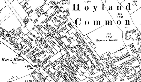 Figure 2: Hoyland Common, a settlement with a dense irregular pattern of housing including some back-to-back properties that have since been demolished.