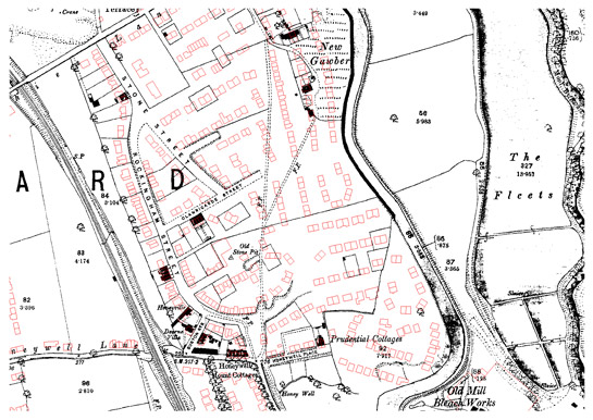 Figure 2: Honeywell estate in Barnsley. The streets associated with the Honeywell Mount Freehold Land Society are shown under development but few houses have been built within the plots. The red outlines show the eventual modern development of a council estate on the site in the mid 20th century