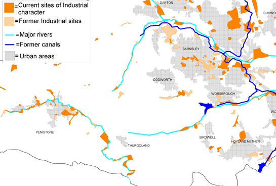 Figure 3: Water powered industries followed the course of Barnsley's rivers; other 18th and 19th century industrial sites clustered along the Dearne & Dove Canal and the Barnsley Canal. Later industries often developed along the dense network of railway lines that ran across Barnsley from the 19th century