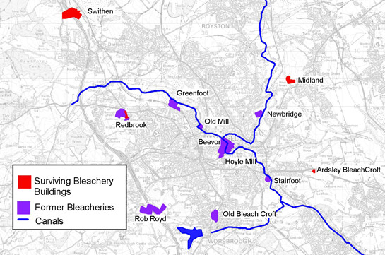 Figure 4: Location of the known bleacheries around Barnsley