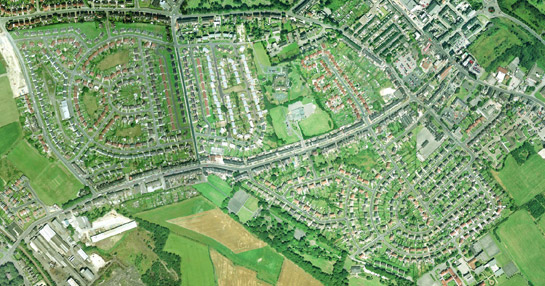 Figure 1: The south west suburbs of Wombwell showing complex geometric forms