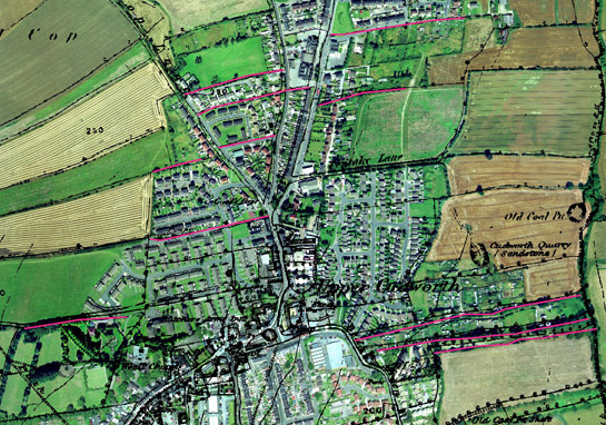Figure 4: Upper Cudworth - Some strip field boundaries are fossilised within the 'Planned Industrial Settlements' zone (emphasised in pink)