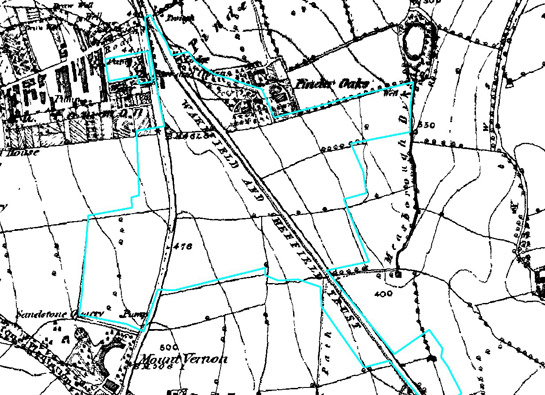 Figure 2: The Wakefield and Sheffield Trust turnpiked road cutting through the earlier field pattern. Part of the 'Early 20th Century Private Suburbs' zone is outlined in blue