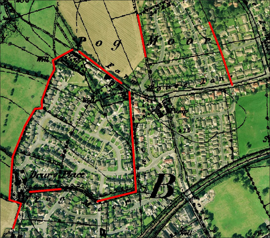 Figure 2: 'Barnsley Western Suburbs' showing fossilised field patterns (red lines).
