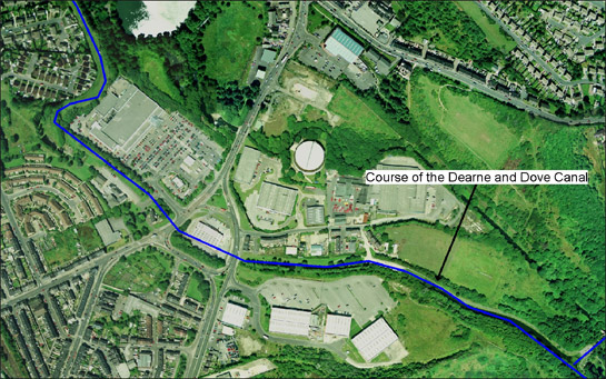 Figure 2: Former course of the Dearne and Dove Canal (in blue) as it runs through Old Mill in Barnsley, where former industrial sites have been replaced with modern retail developments