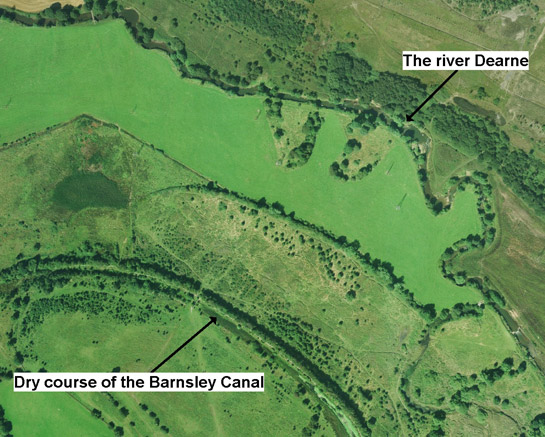 Aerial photograph showing the course of the Barnsley Canal as it runs through the Dearne Valley south of Staincross