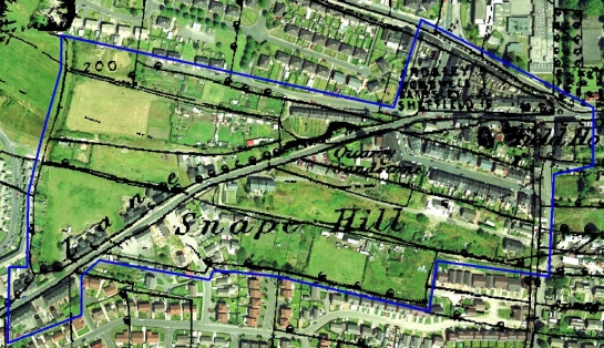Figure 3: Snape Hill, Darfield - area of 'Industrial Settlement' outlined in blue, showing housing built within former field boundaries