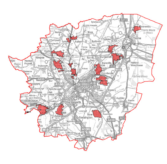 Figure 1: Location of character areas making up the 'Planned Industrial Settlements' zone
