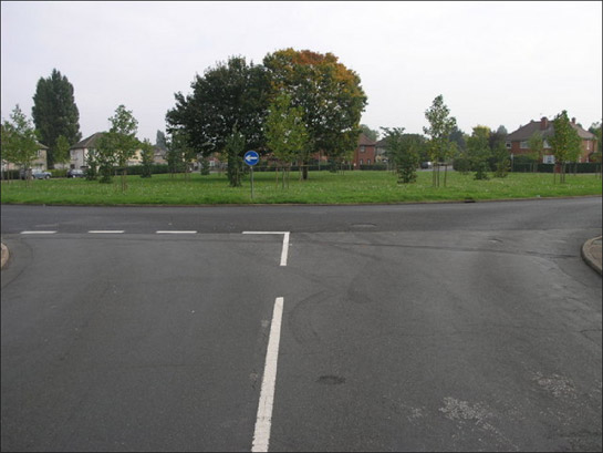 Figure 2: Open spaces typically double as roundabouts in the inter-war estates characteristic of this zone, as here at Wheatley Park, Doncaster