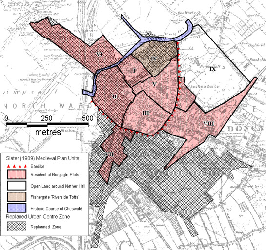 Figure 1: Showing the extent to which the 'Replanned Centre Zone' overlaps with the medieval core of the town.