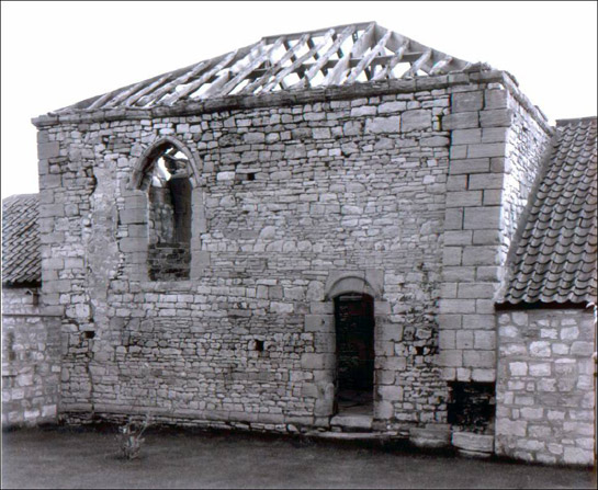 Fragment of chapel wall retained in later barns at the site of Thorpe in Balne Manor House, photographed in June 1981