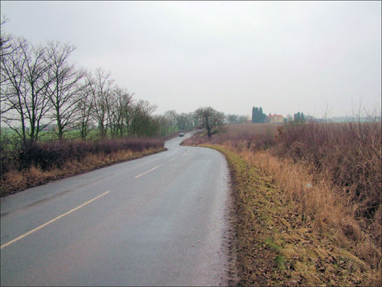 Figure 2: Church Field Road, between Clayton and Hooton Pagnell.  Despite the loss of strip enclosure field boundaries either side of this road, their former sinuous shapes have been preserved by this road's course