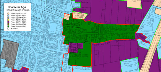 Figure 3: The historic core of Hatfield - showing a clearly planned medieval linear pattern of plots set perpendicular to a main street. Note the well-preserved large enclosure around the medieval manor house to the south west of the series.