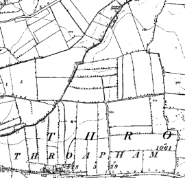 Figure 2:  These extracts show how post-medieval strip enclosures depicted in 1854 (left) have been removed by 2003 (right), resulting in units of a similar scale to the earlier medieval land enclosure pattern.