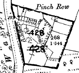 Figure 2 (top): Pinch Row, Rawmarsh: The 1891 OS map shows early-mid 19th century row housing