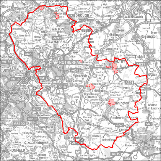 Figure 2: Location of character areas making up the 'Planned Industrial Settlements' zone in Rotherham.