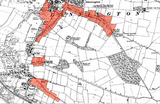 Figure 3:  The 'Anston and Dinnington Ribbon Developments' character area (red shading), as depicted by the OS map of 1938.