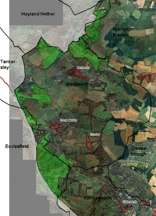 Figure 1: The 'Assarted Enclosure Zone' (green) typically occupies parish edge locations (black lines) at a distance from medieval nucleated settlements (red), which tend to be surrounded by former open field landscapes.