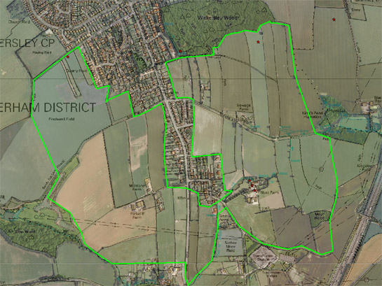 Figure 2: The 'Kingsforth Field Strips, Wickersley' character area shows a clear semi-regular pattern of narrow curving fields indicative of the piecemeal enclosure of former open fields.  The eastern part of this area has been subject to less 20th century boundary loss