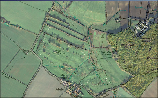 Figure 3: At Wath Golf Course there is partial legibility of former piecemeal strip enclosures, through the reuse of mature trees taken from earlier hedgerow boundaries in the landscaping of the course