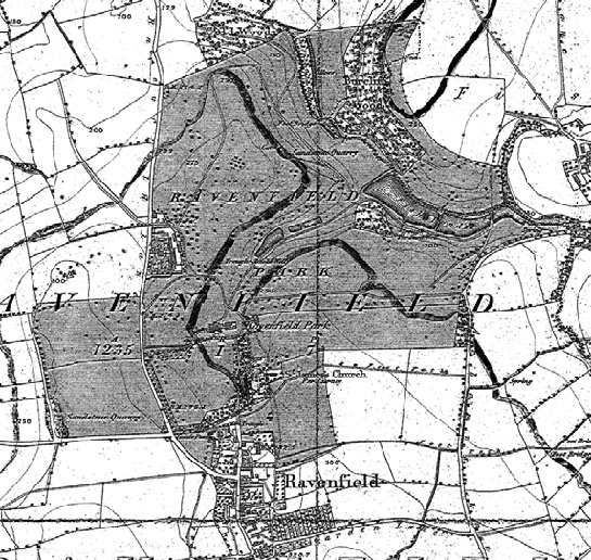 Figure 2: Ravenfield Park as depicted on the 1851 6 inch OS mapping. Since Badeslade's depiction, the park has been relandscaped, with thinning of the formal plantations and avenues into more naturalistic clumps