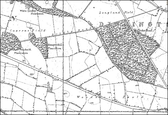 Figure 4: The 1850s edition of the OS 6 inch to the mile survey of Yorkshire often indicates former open field names, as in this extract within the 'Surveyed Former Open Fields East of Dinnington and North Anston' character area