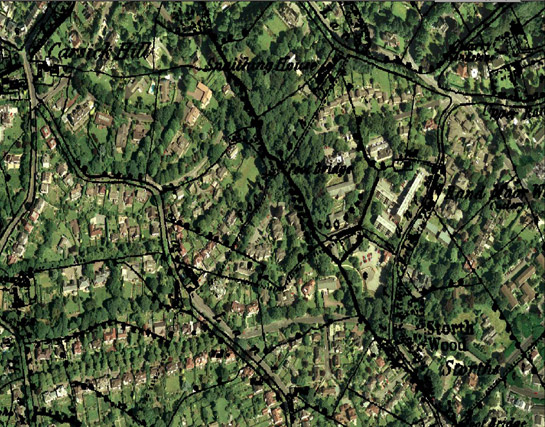 Figure 3: Overlaying 1851 1:10560 map data on modern aerial photography demonstrates a pattern typical of this zone with little legibility of earlier field boundaries despite a well preserved earlier network of lanes (detail from Ranmoor and Stumperlowe Character Group). Aerial Photography © 1999 Cities Revealed / Geoinformation Group Ltd. Mapping  and database right Crown Copyright and Landmark Information Group Ltd (All rights reserved 2008) Licence numbers 000394 and TP0024