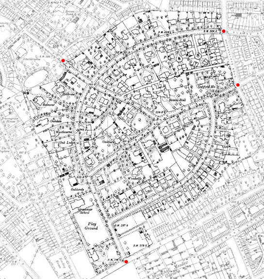 Text Box: Figure 5: The Broomhall Park Estate in 1891.  The layout of the estate was based applied 'Picturesque' principles to the layout of an exclusive suburb of large villas set in pseudo naturalistic surroundings despite their urban surroundings.  The exclusivity of the surroundings was enhanced by the provision of gates and lodges at its entrances (marked by red dots).  Base map  and database right Crown Copyright and Landmark Information Group Ltd (All rights reserved 2008) Licence numbers 000394 and TP0024