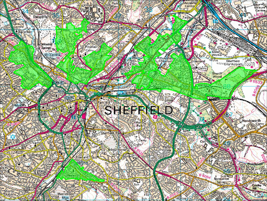 Figure 2: The distribution of this zone corresponds to the first areas developed with terraced housing outside the city centre © SYAS based on Ordnance Survey mapping © Crown Copyright, All Rights Reserved, Sheffield City Council 100018816. 2008