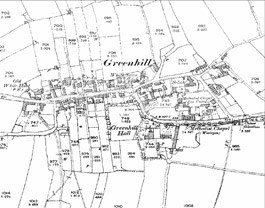 Greenhill Village in the 1890s.  The village is typical of small nucleated villages in the area displaying a simple planned layout based on narrow crofts perpendicular to a main street at the heart of an open field system.