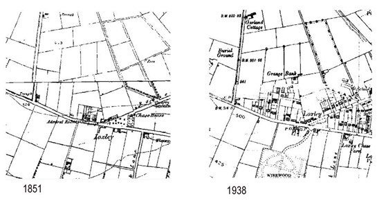 Text Box: Figure 5: Comparison of these extracts of mapping show how early twentieth century suburbanisation on the edge of the former Loxley Common subdivided and fossilised straight sided enclosures first defined by surveyor of the Parliamentary Enclosure Award.